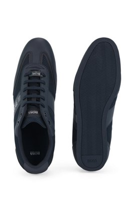Low-profile trainers in mesh and rubberised fabric, Dark Blue