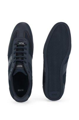 Lowtop Sneakers aus Mesh und gummiertem Stoff, Dunkelblau