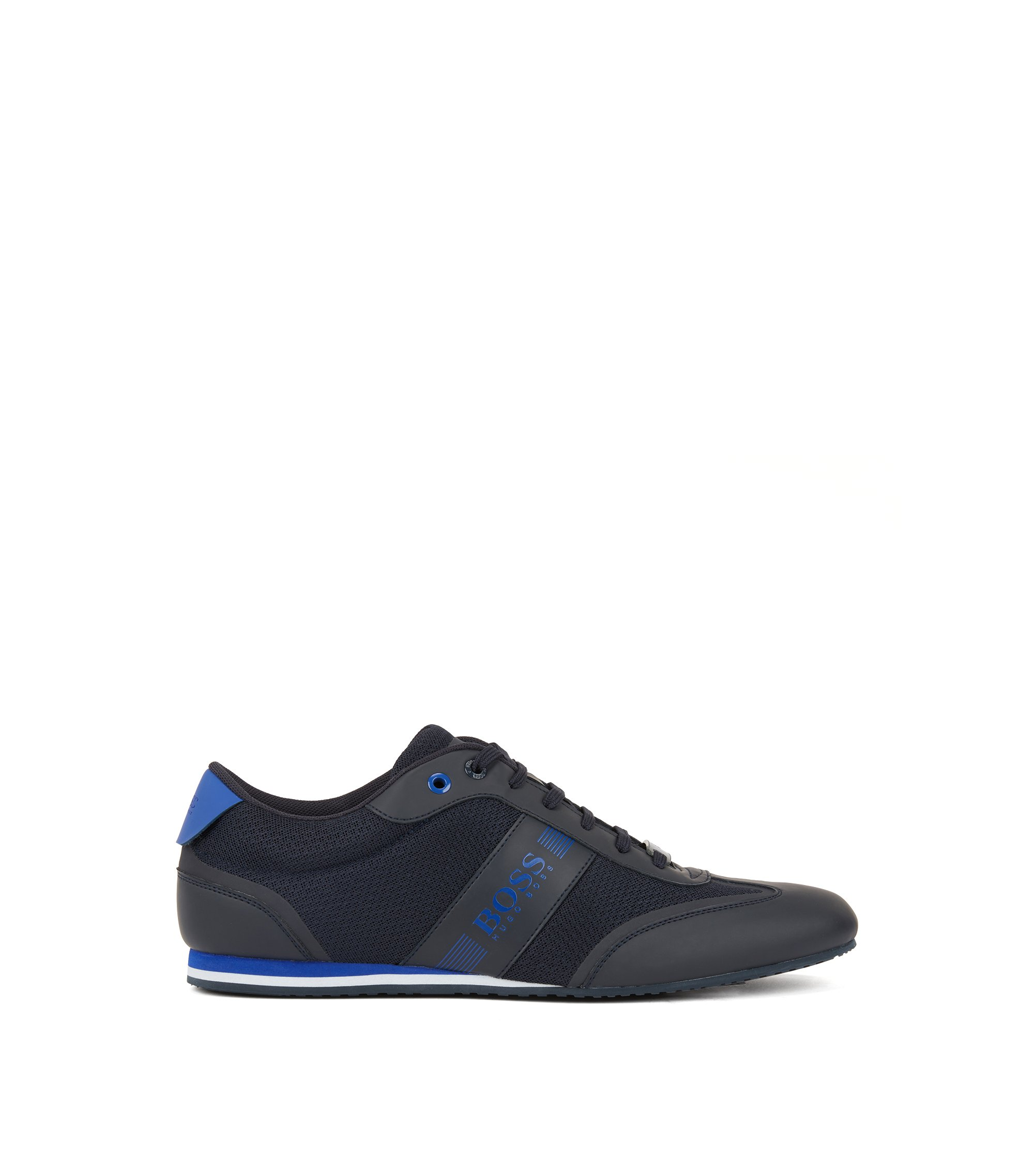 Lace-up trainers with mesh detail, Dark Blue