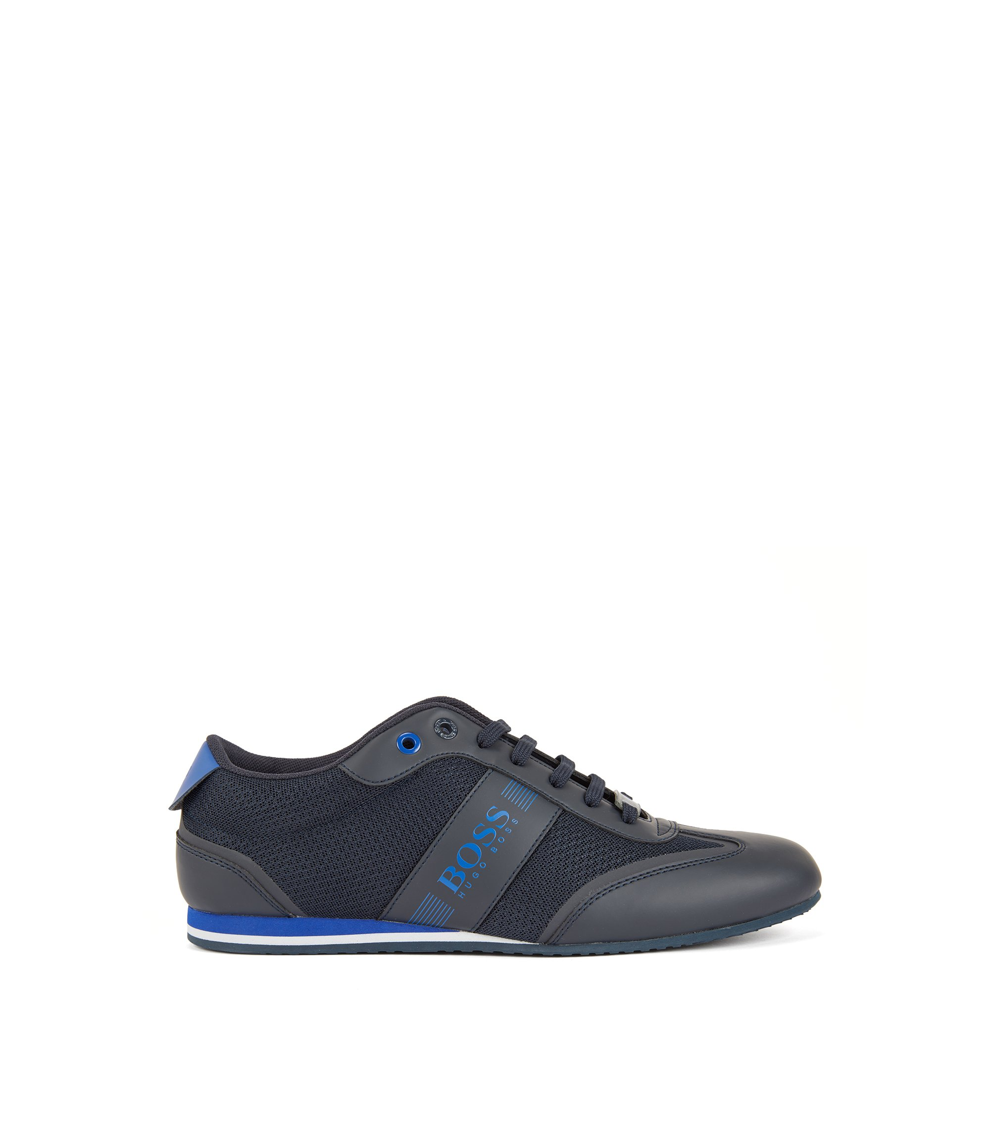 Chaussures de sport lacées, avec détail en mesh, Bleu foncé