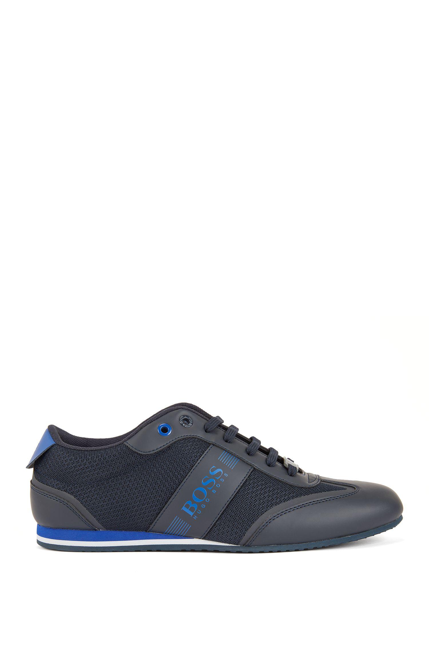 Sneakers mit Schnürung und Mesh-Detail, Dunkelblau
