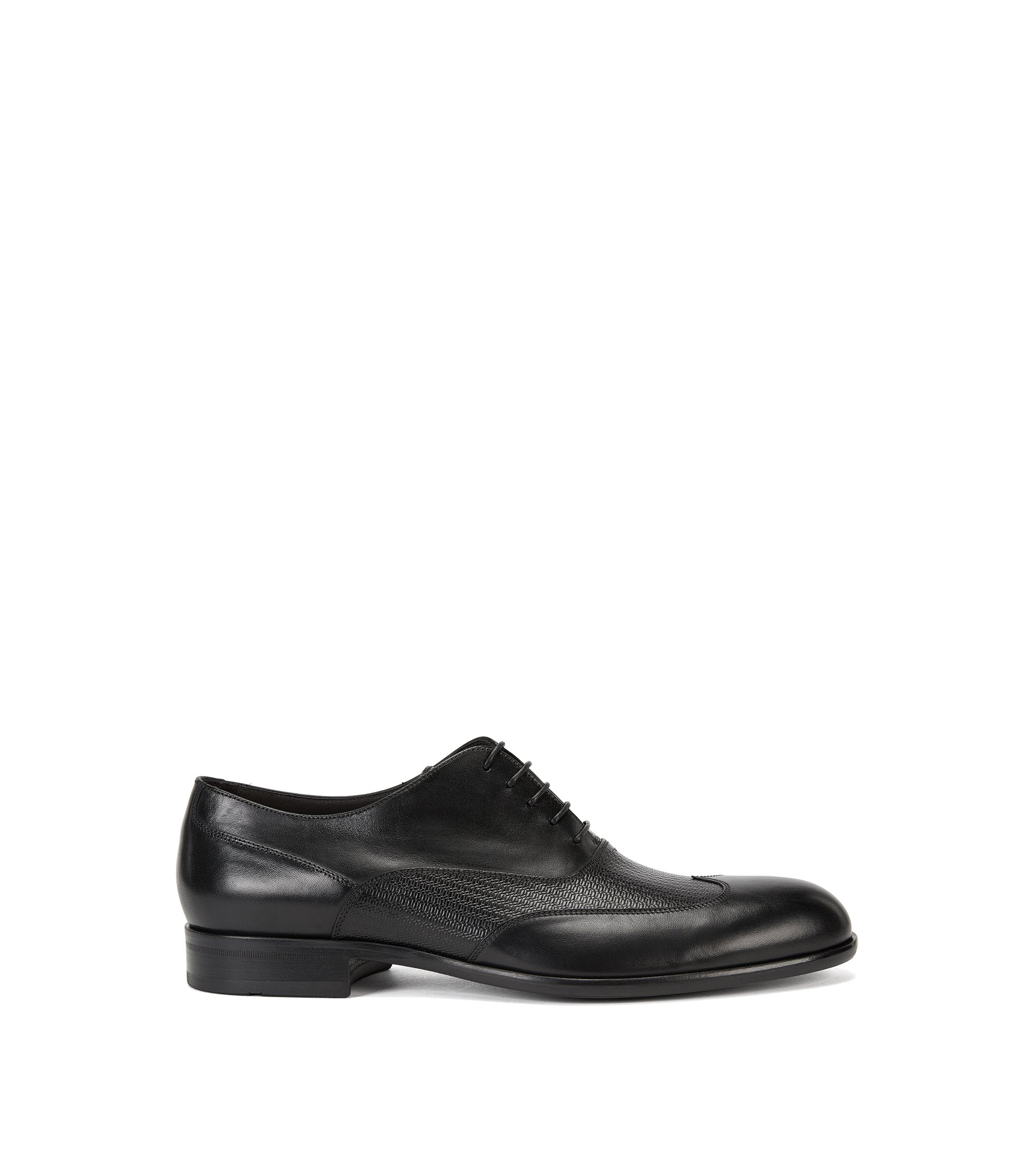 Leather Oxford shoes with printed detail, Black