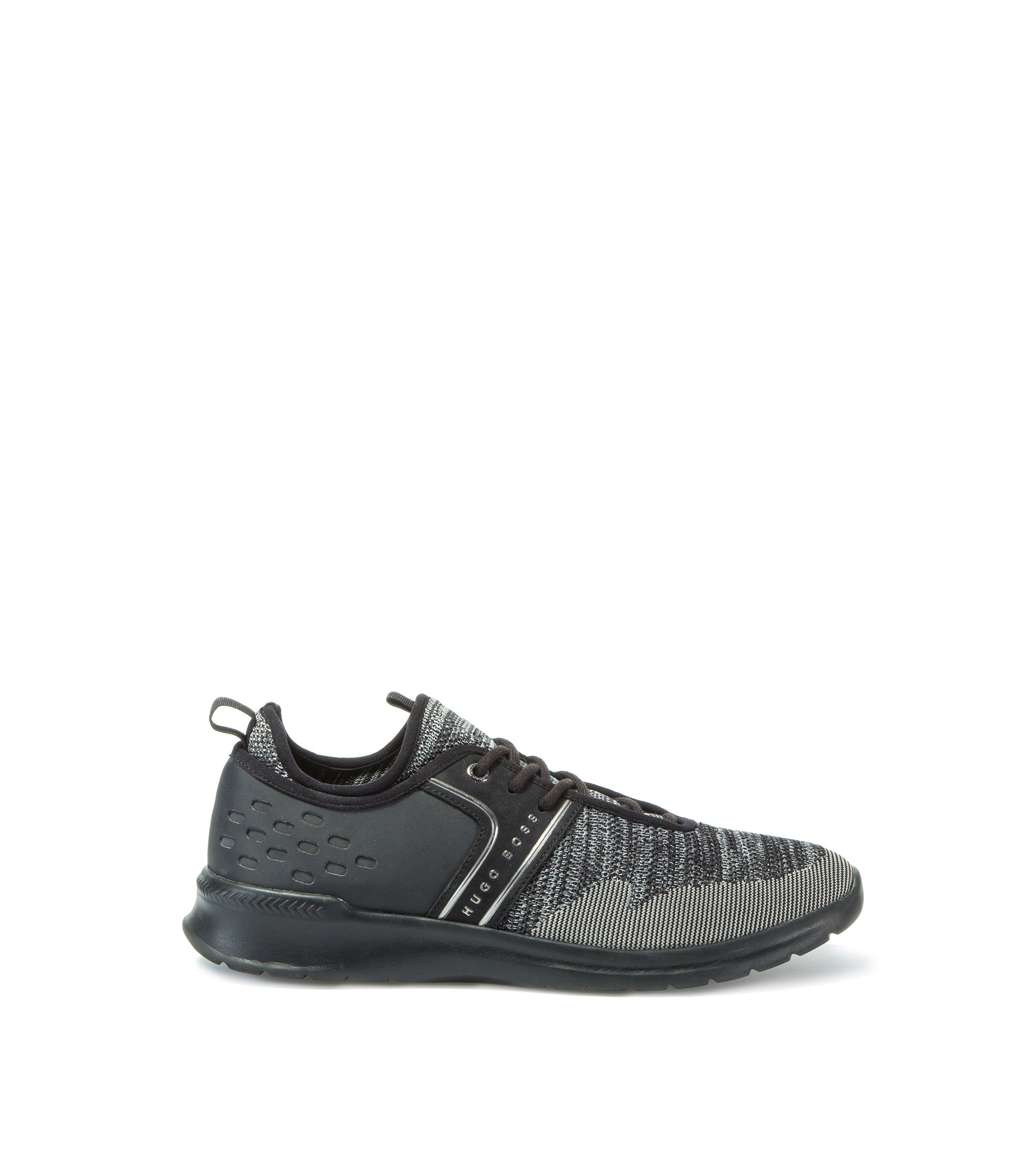 Sneakers aus Material-Mix, Dunkelgrau