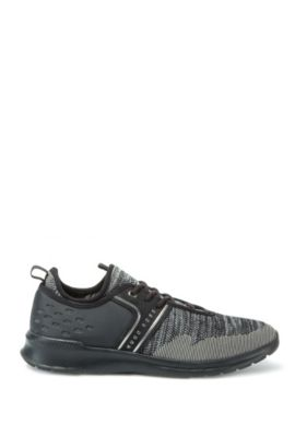 Lace-up trainers with knitted uppers, Dark Grey