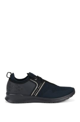 Lace-up trainers with knitted uppers, Dark Blue