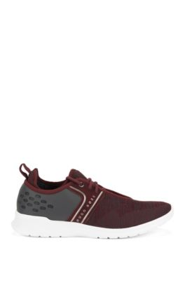 Lace-up trainers with knitted uppers, Dark Red