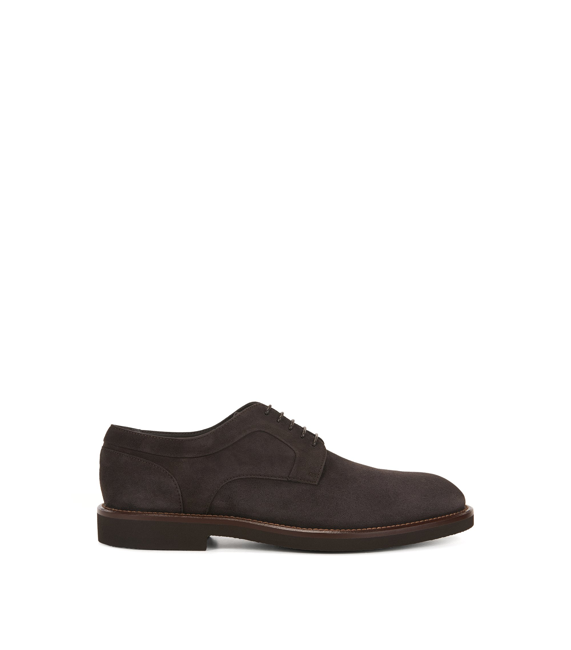 Lace-up Derby shoes in suede, Dark Brown