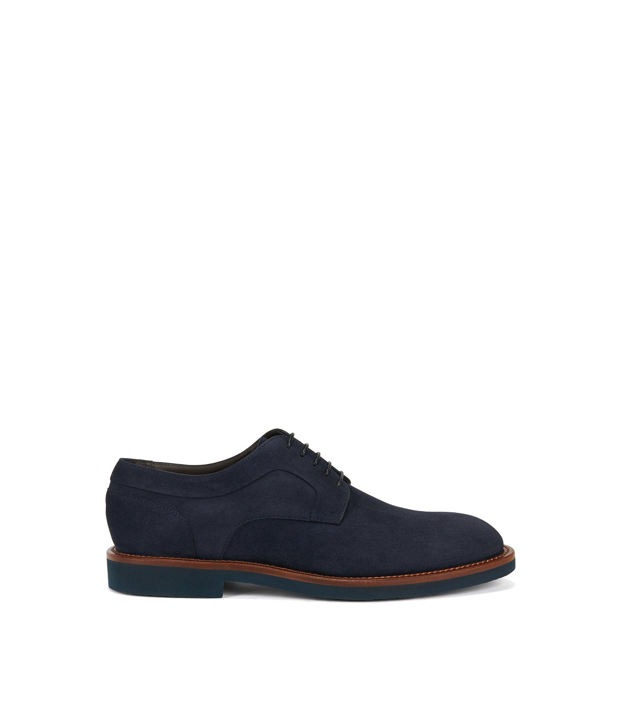Chaussures derby lacées en daim, Bleu foncé