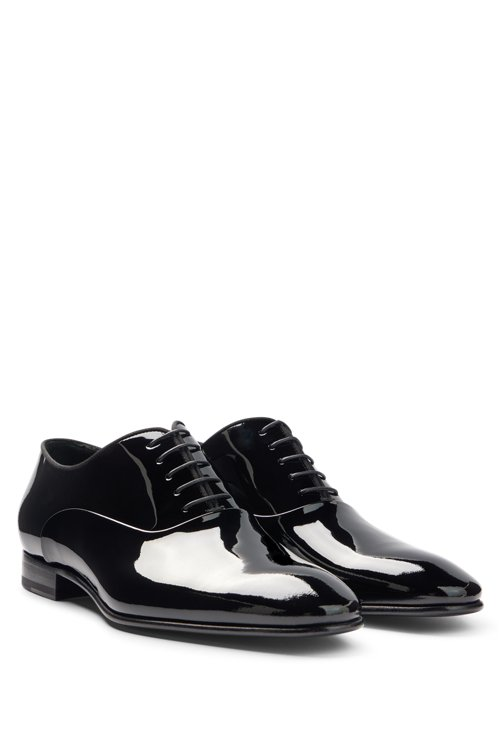 Hugo Boss - Patent leather Oxford shoes with grosgrain collar piping - 3