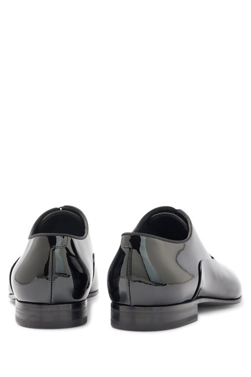Hugo Boss - Patent leather Oxford shoes with grosgrain collar piping - 4