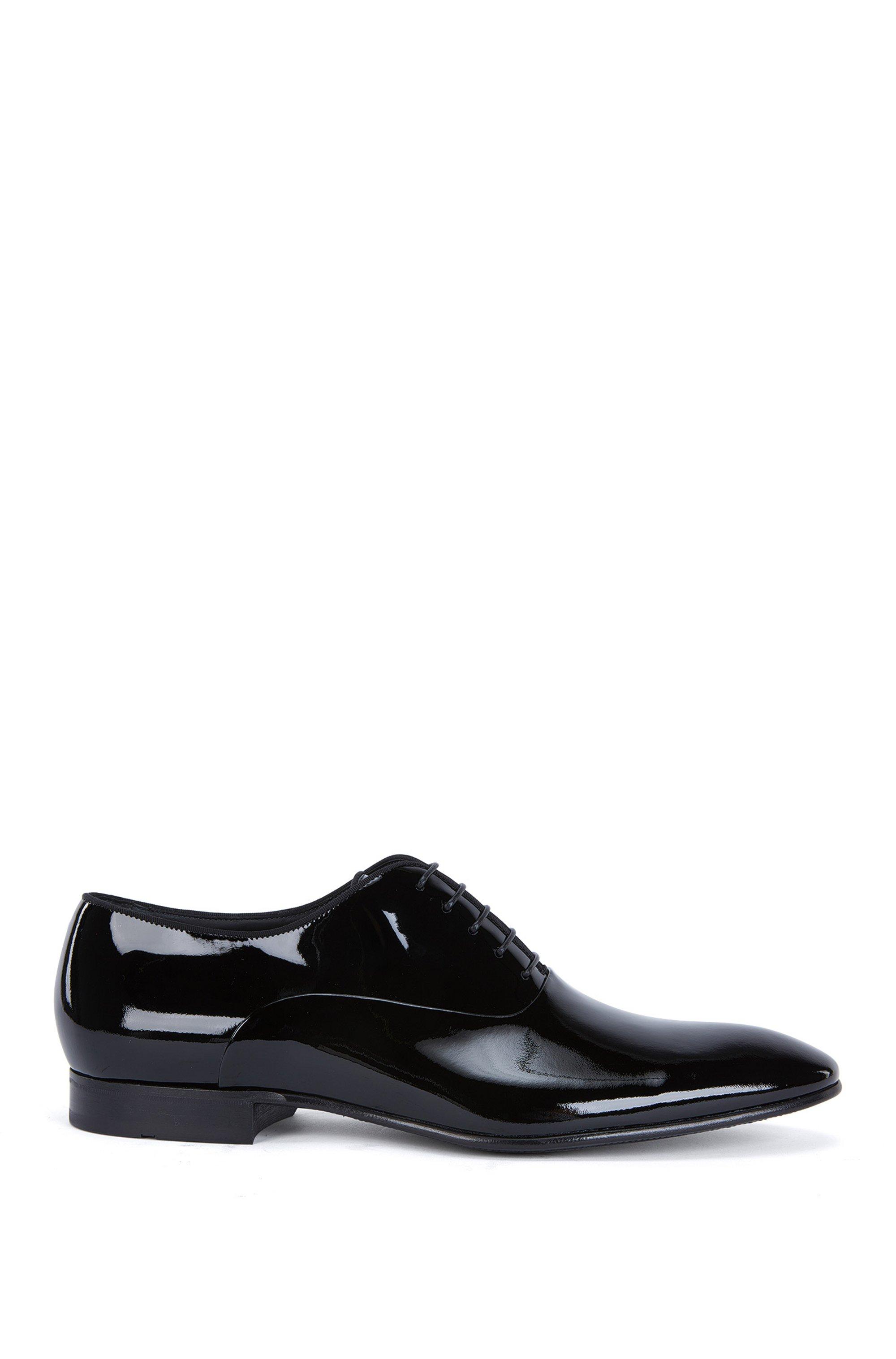 Zapatos oxford de charol con ribete de tejido otomán, Negro