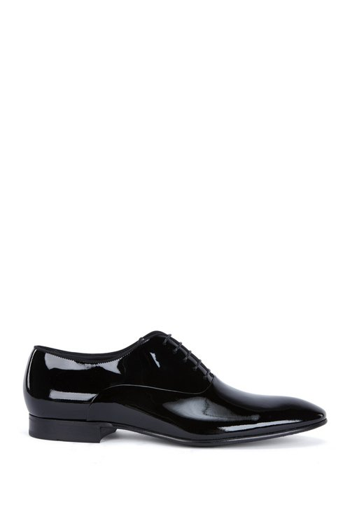 Hugo Boss - Patent leather Oxford shoes with grosgrain collar piping - 1