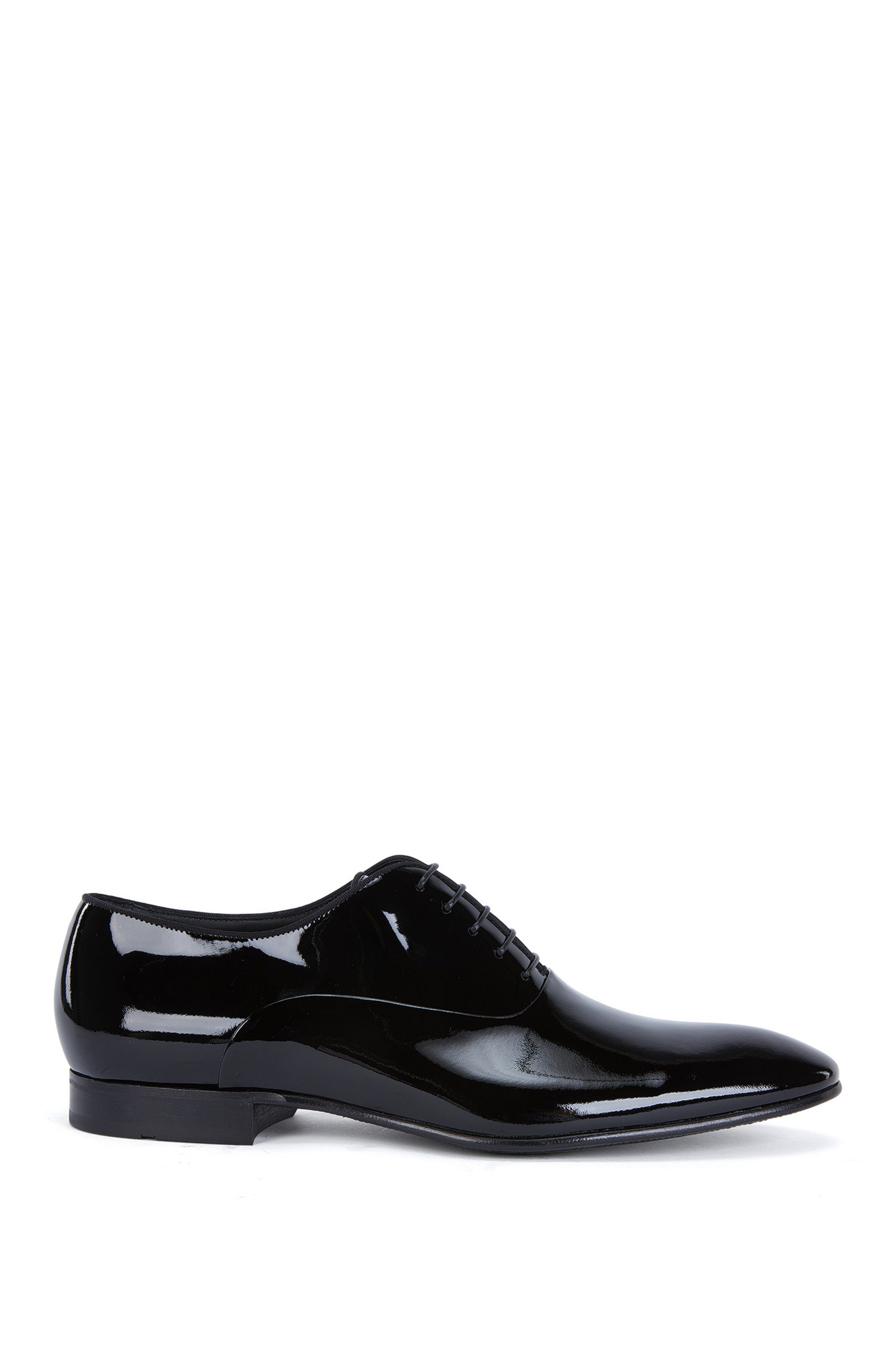 Oxford shoes in patent leather with grosgrain piping, Black