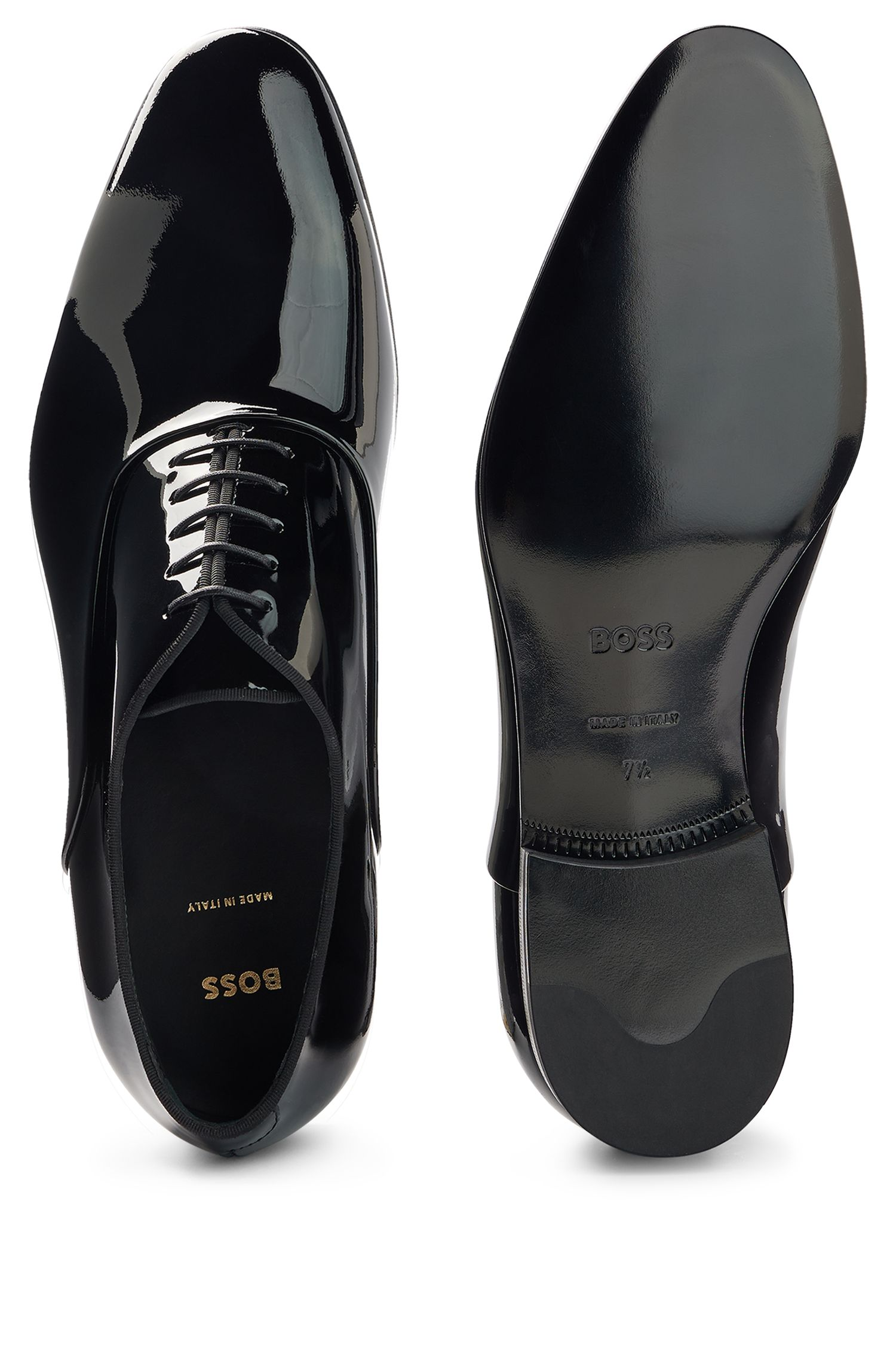 Patent leather Oxford shoes with grosgrain collar piping, Black