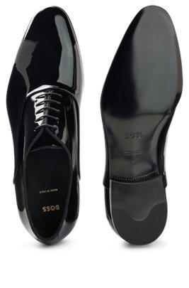 Oxfordschoenen van lakleer met grosgrain biezen, Zwart