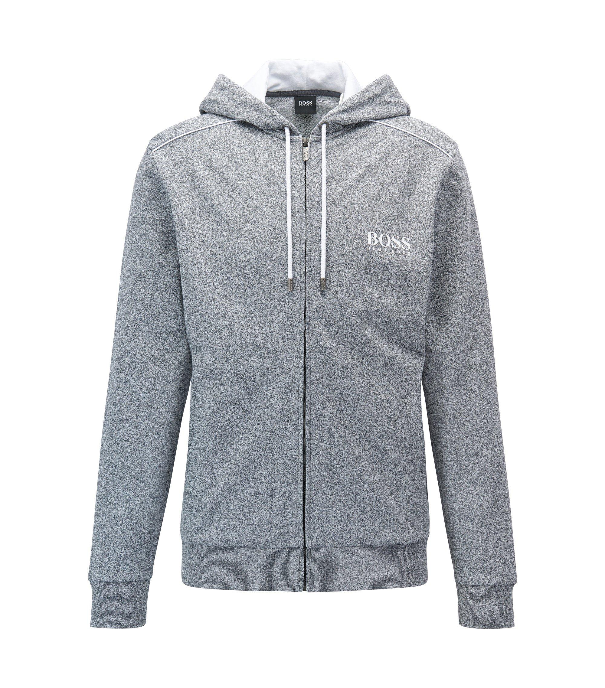 Regular-Fit Loungewear-Jacke aus Baumwolle mit Kapuze, Anthrazit