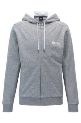 Regular-fit hooded loungewear jacket in French terry, Anthracite