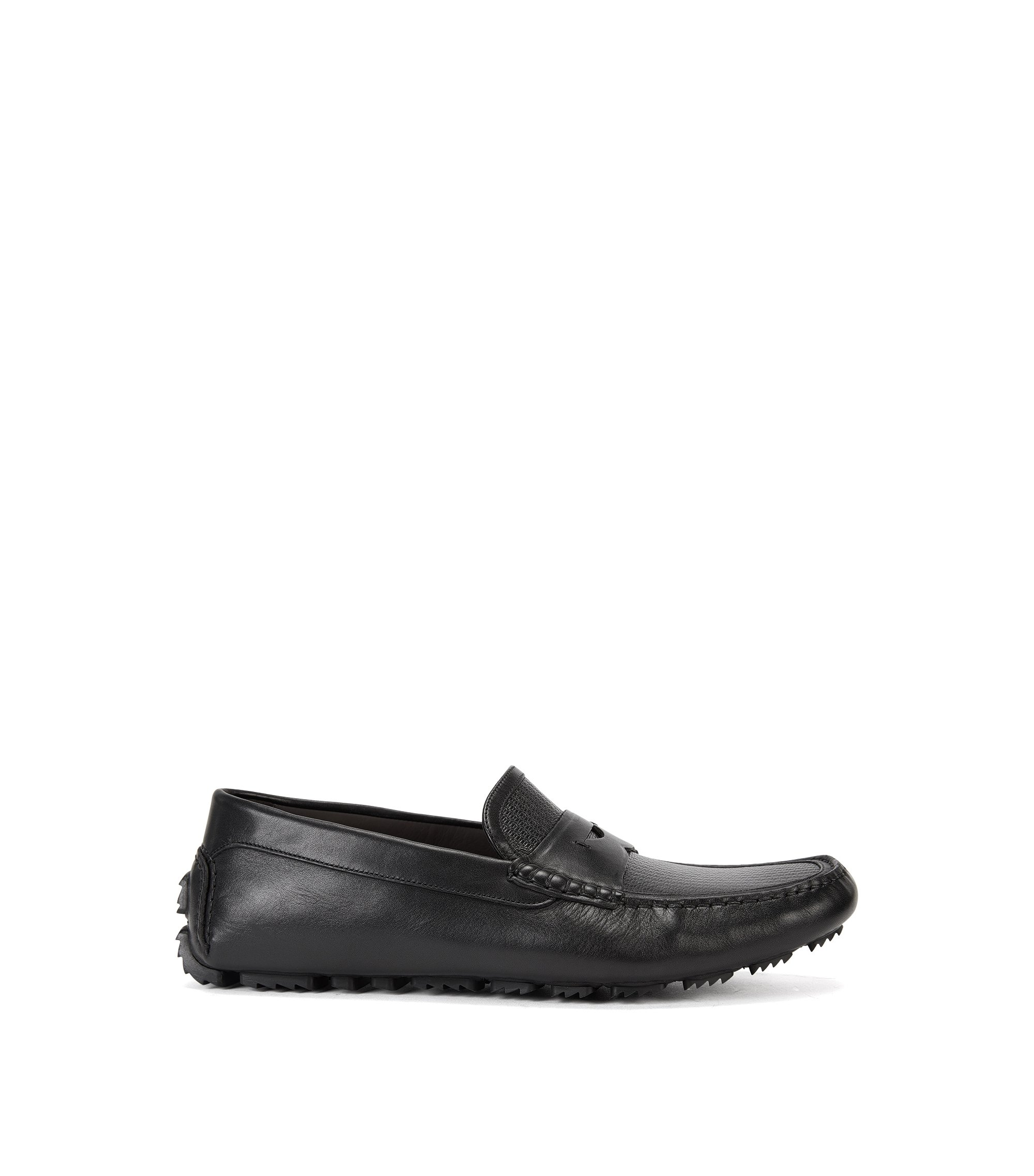 Leather driver shoes with moccasin detail, Black