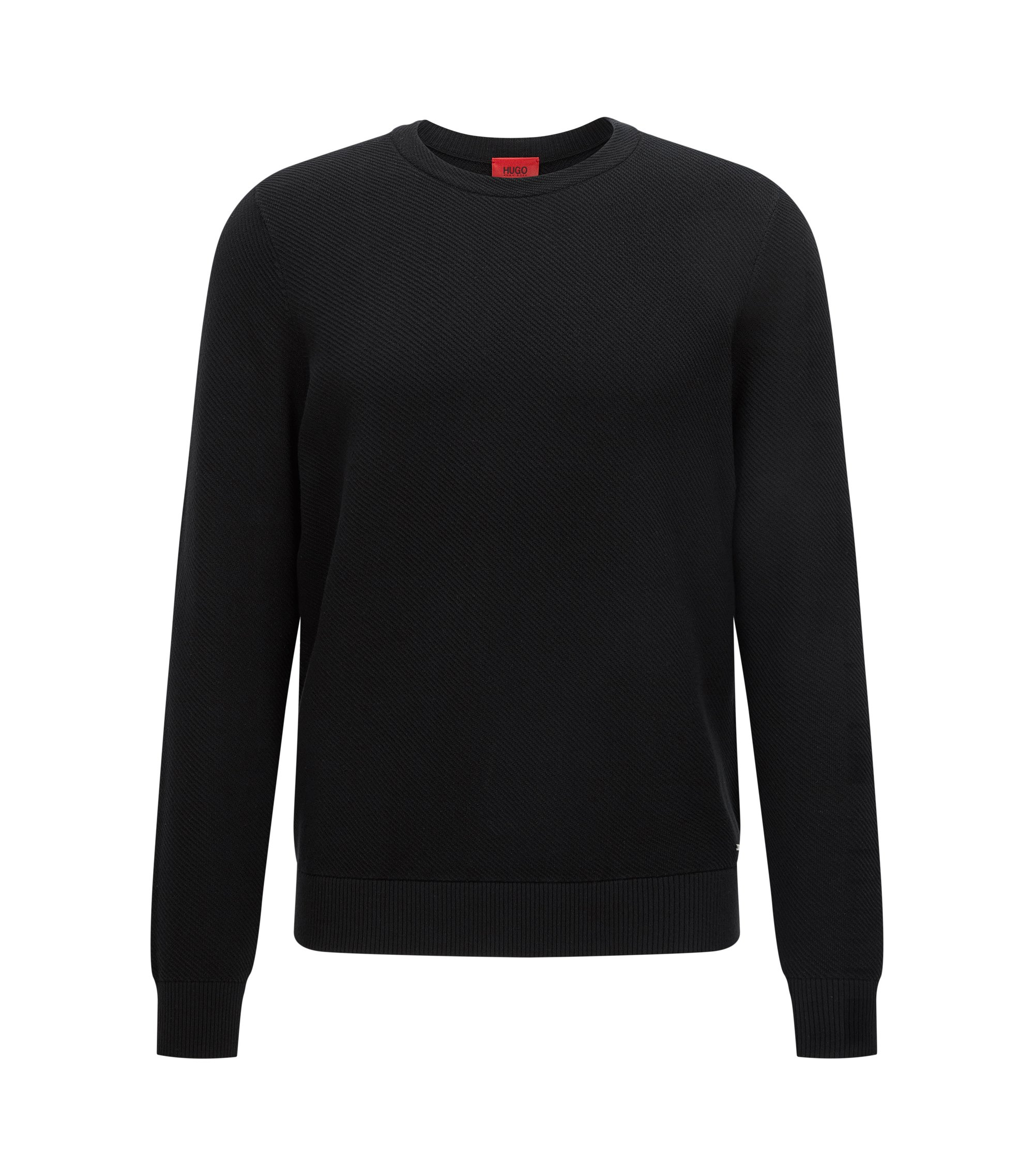 Relaxed-Fit Pullover aus Baumwolle mit diagonaler Rippenstruktur, Schwarz