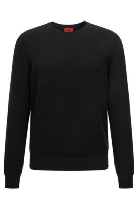 Relaxed-fit sweater with diagonal rib texture, Black