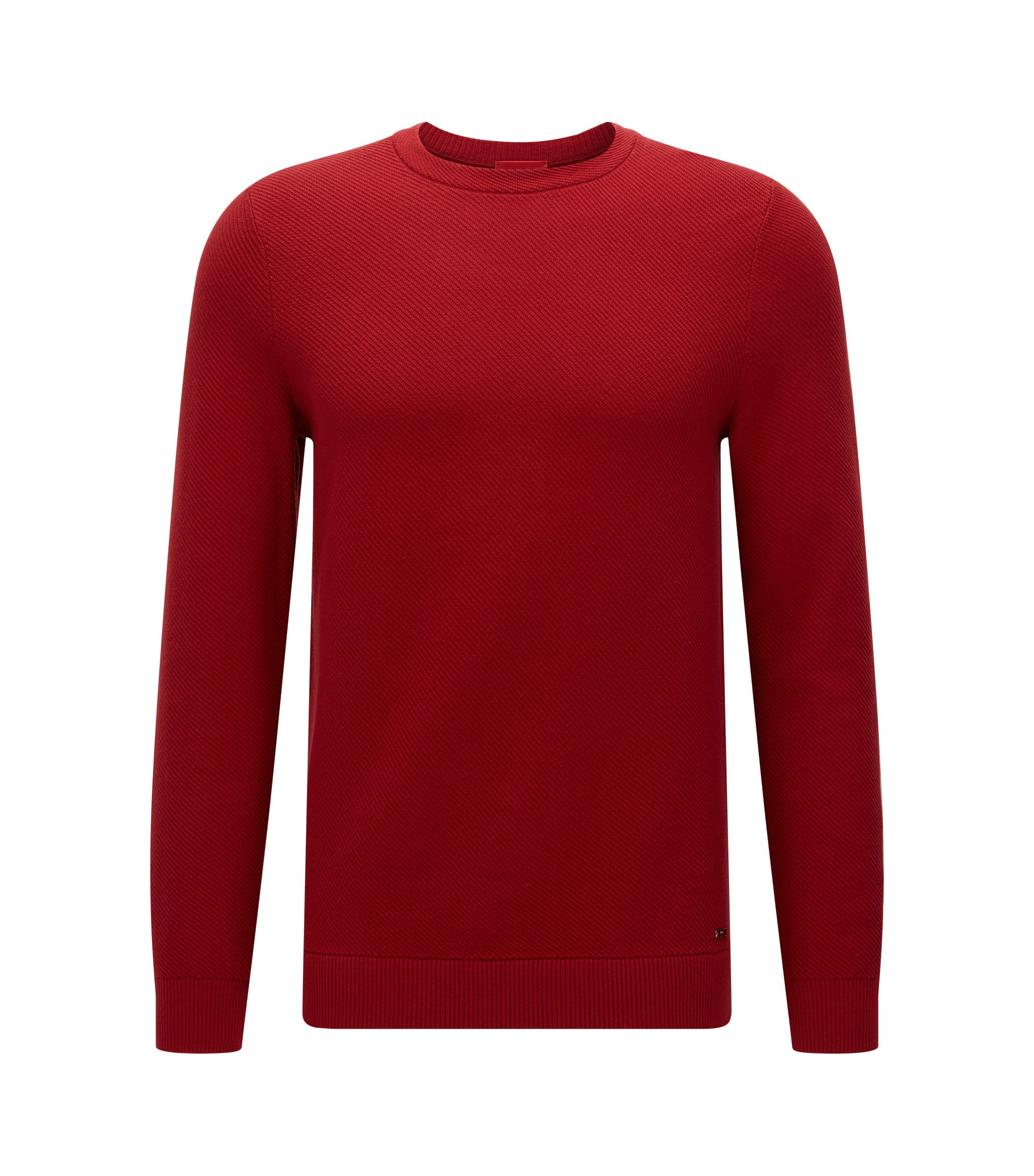 Relaxed-fit trui met diagonale ribstructuur, Donkerrood