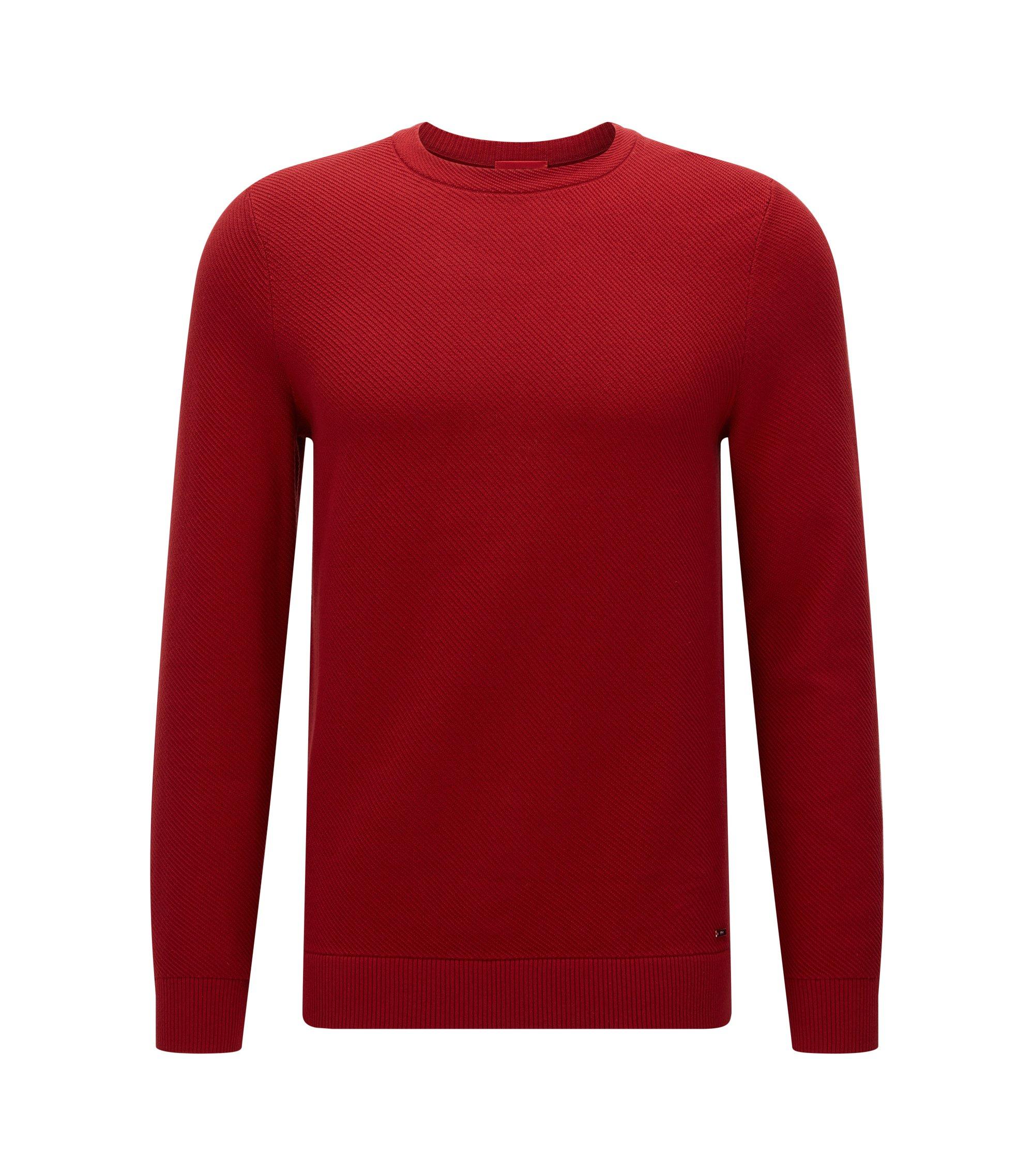 Relaxed-Fit Pullover aus Baumwolle mit diagonaler Rippenstruktur, Dunkelrot