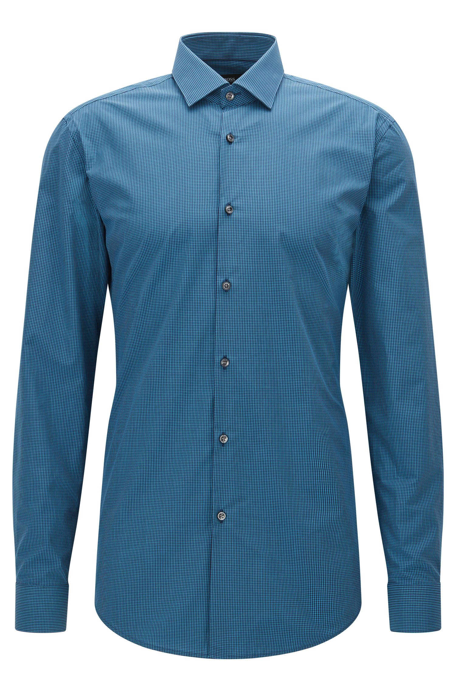 Slim-fit check cotton shirt with semi-spread collar