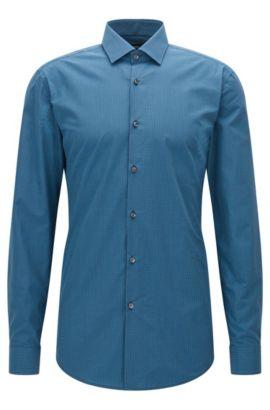 Slim-fit overhemd van katoen met ruitdessin en halfgespreide kraag, Donkerblauw
