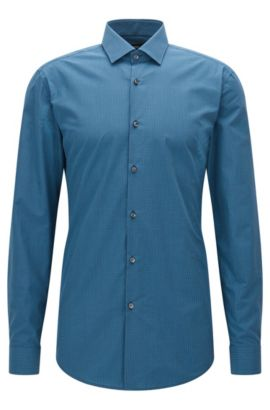 Slim-fit check cotton shirt with semi-spread collar, Dark Blue