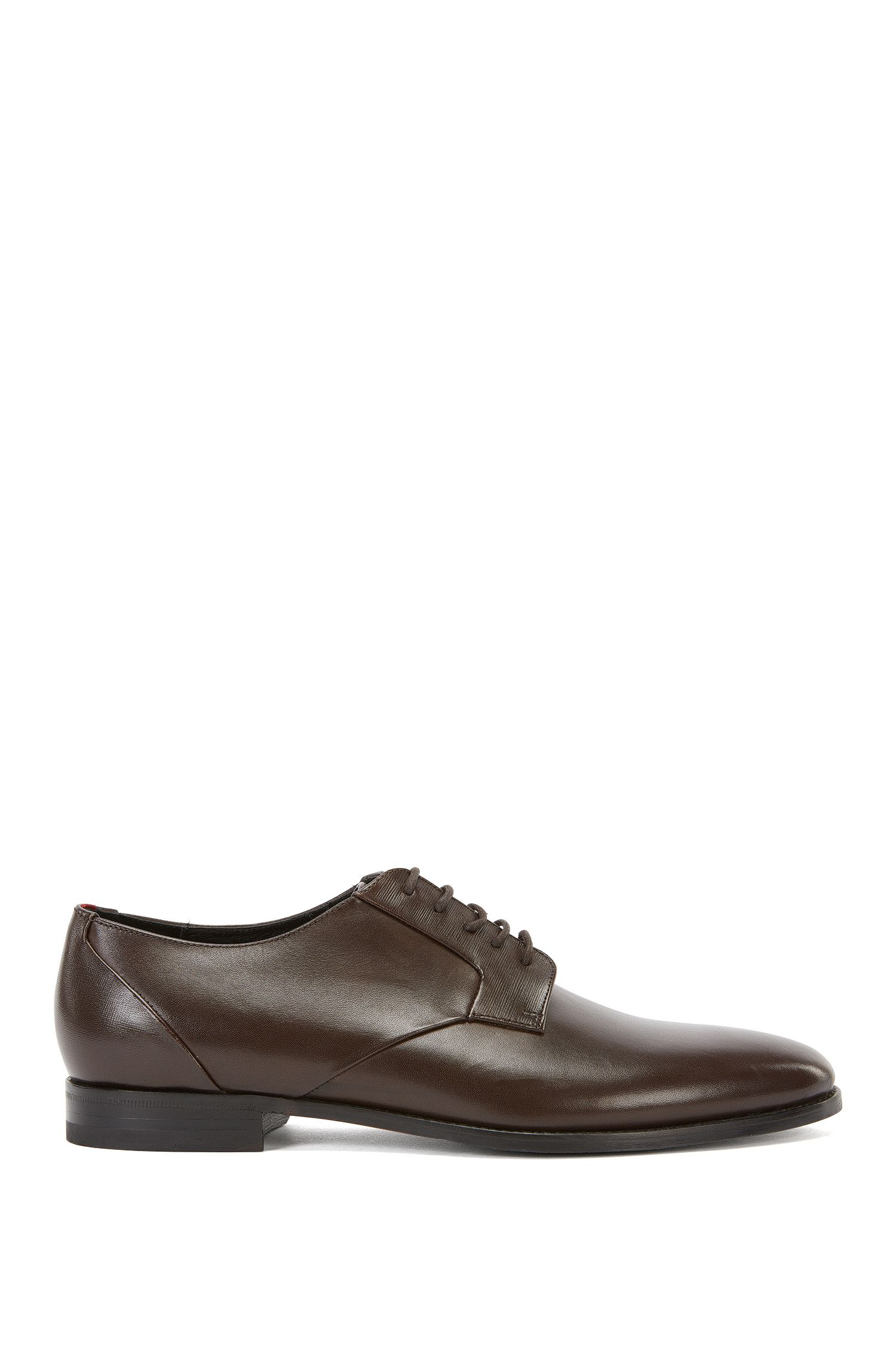 Lace-up Derby shoes in burnished leather