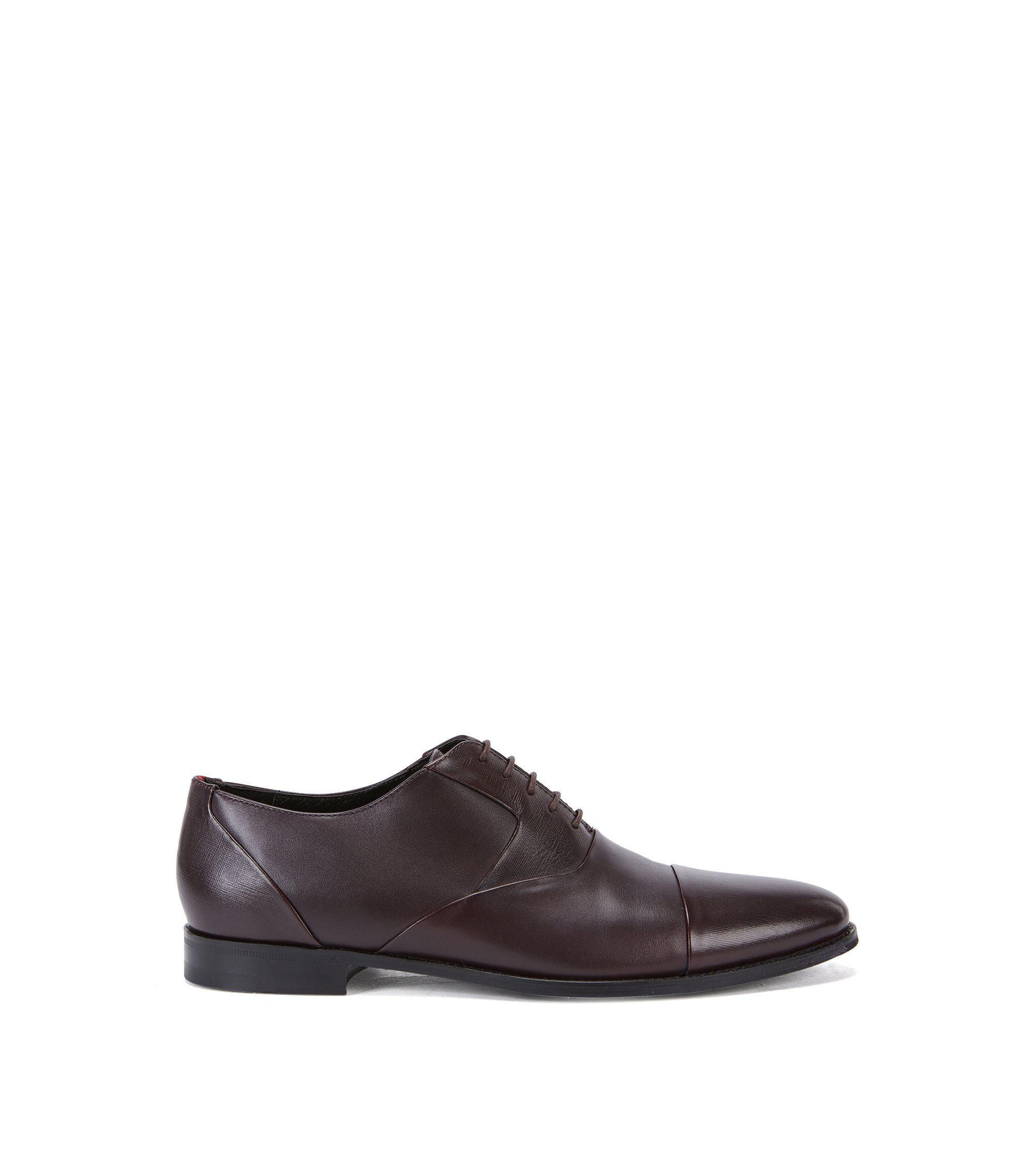 Leather Oxford shoes with Saffiano detail, Dark Red