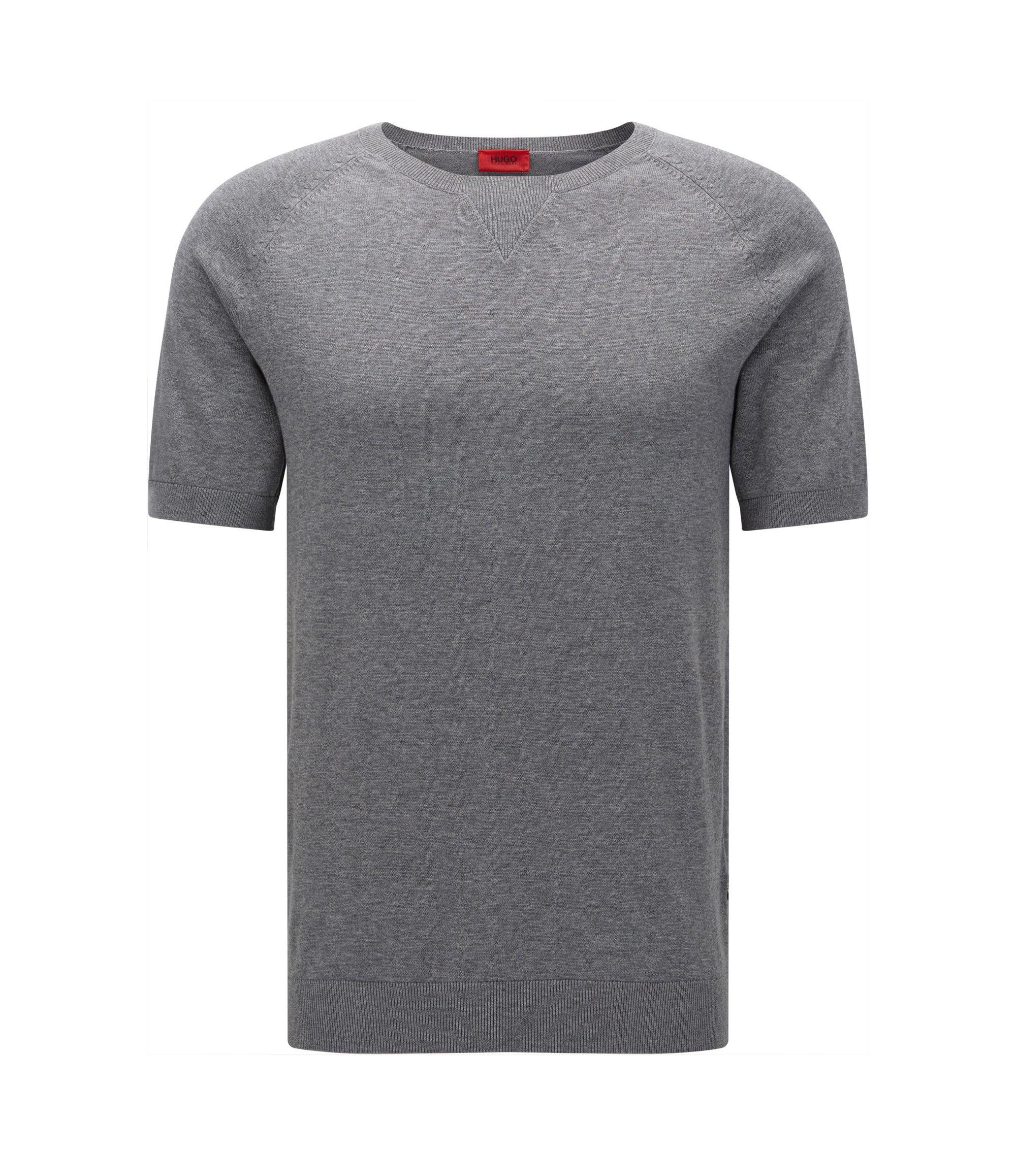 Oversize-T-Shirt aus Baumwolle mit Naht-Detail, Grau