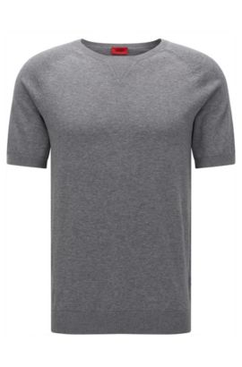 Oversized-fit cotton T-shirt with neckline detail, Grey