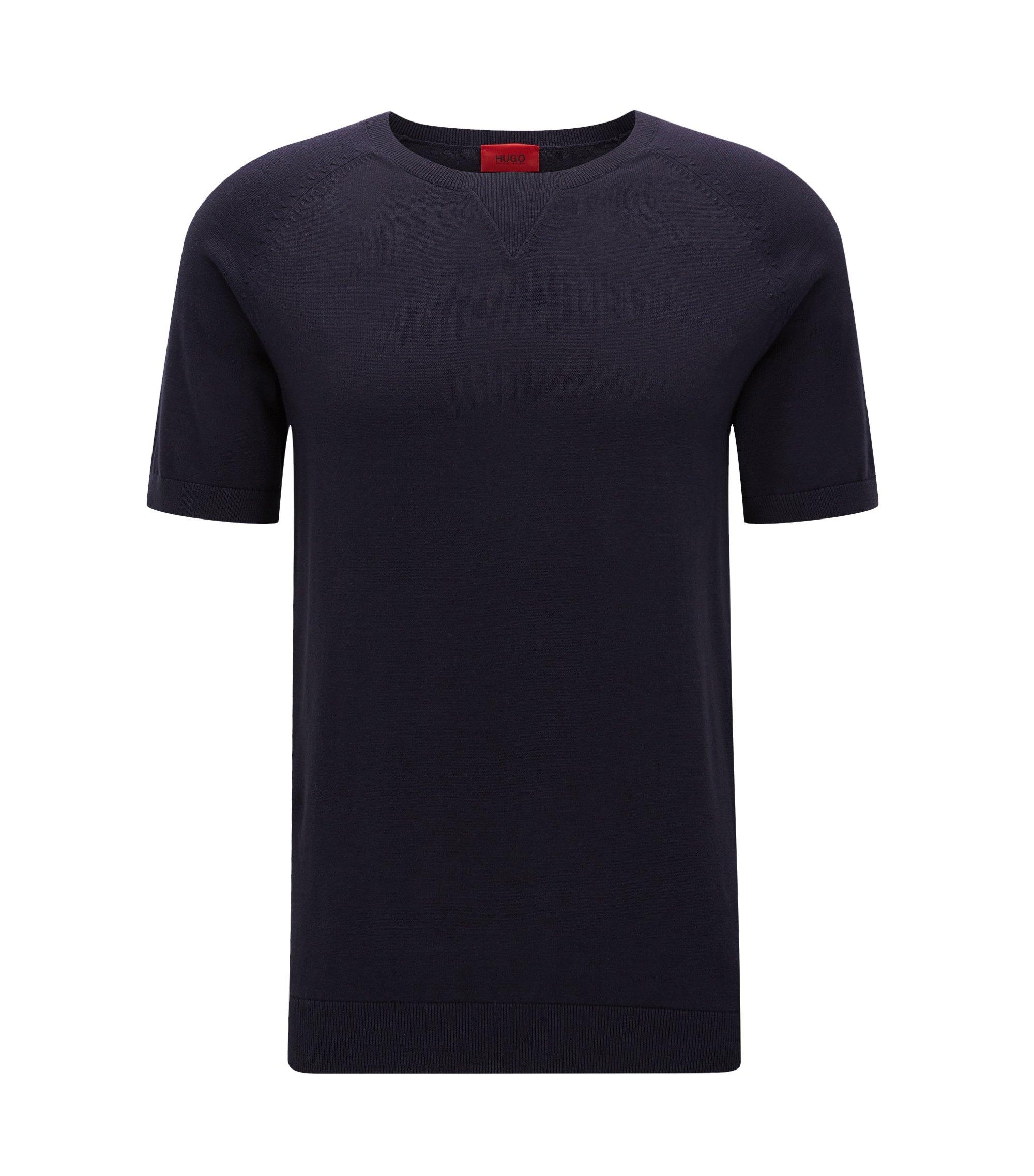 Oversize-T-Shirt aus Baumwolle mit Naht-Detail, Dunkelblau