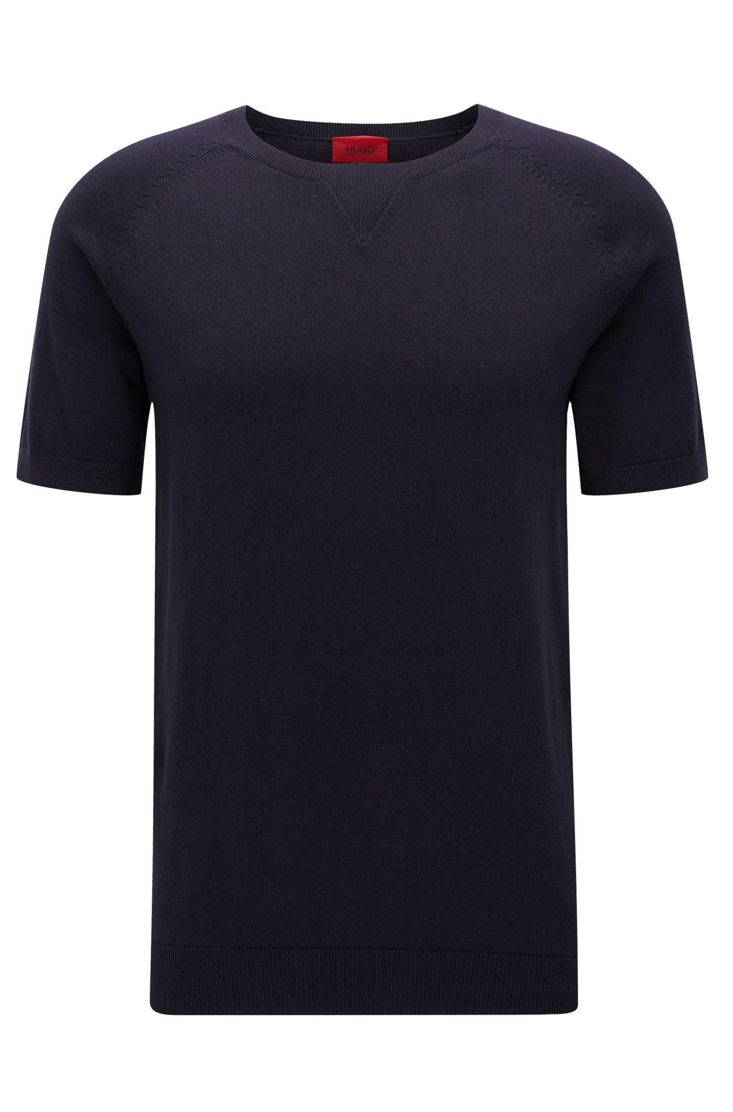 Oversized-fit cotton T-shirt with neckline detail