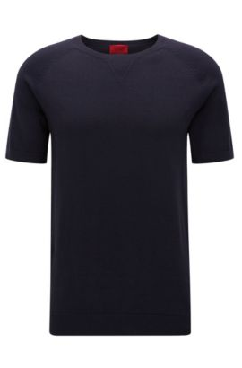 Oversized-fit cotton T-shirt with neckline detail, Dark Blue