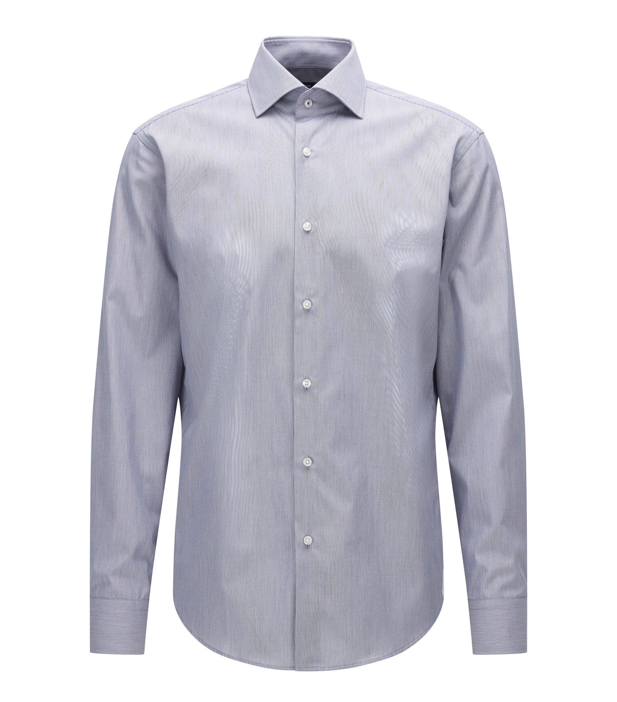 Gestreept regular-fit overhemd van katoen met gespreide kraag, Donkerblauw
