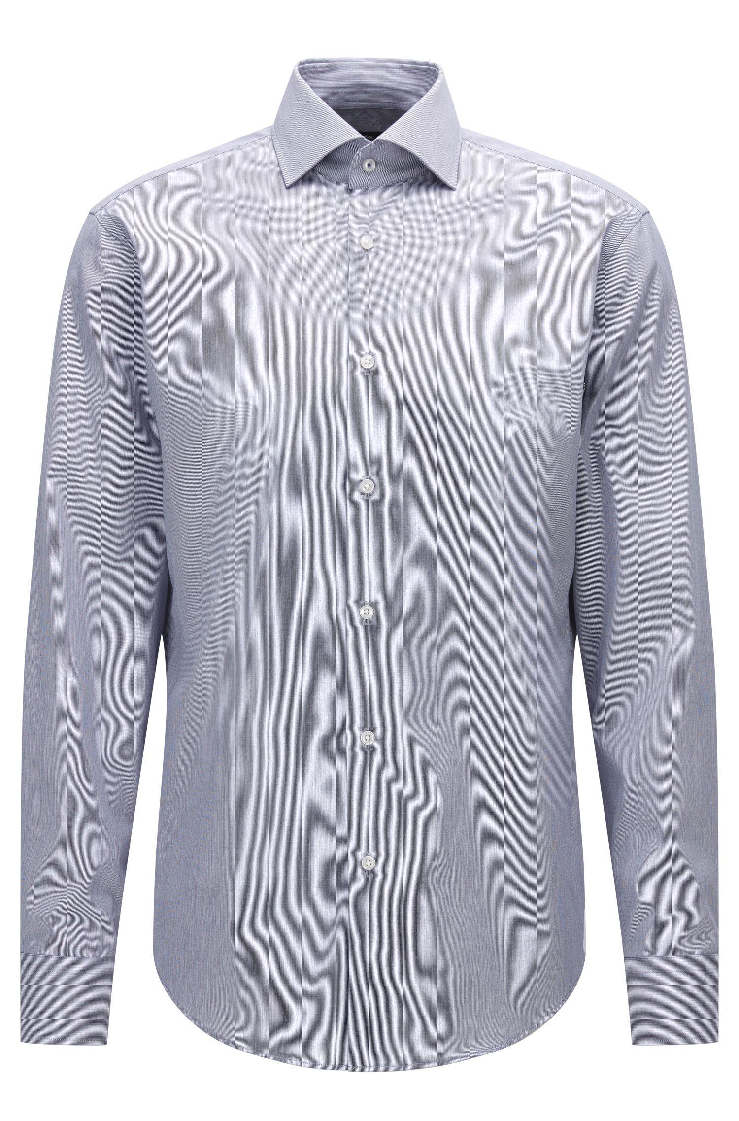 Camisa regular fit de algodón a rayas con cuello abierto