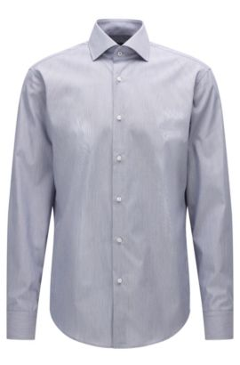 Camicia regular fit in cotone a righe con colletto alla francese, Blu scuro