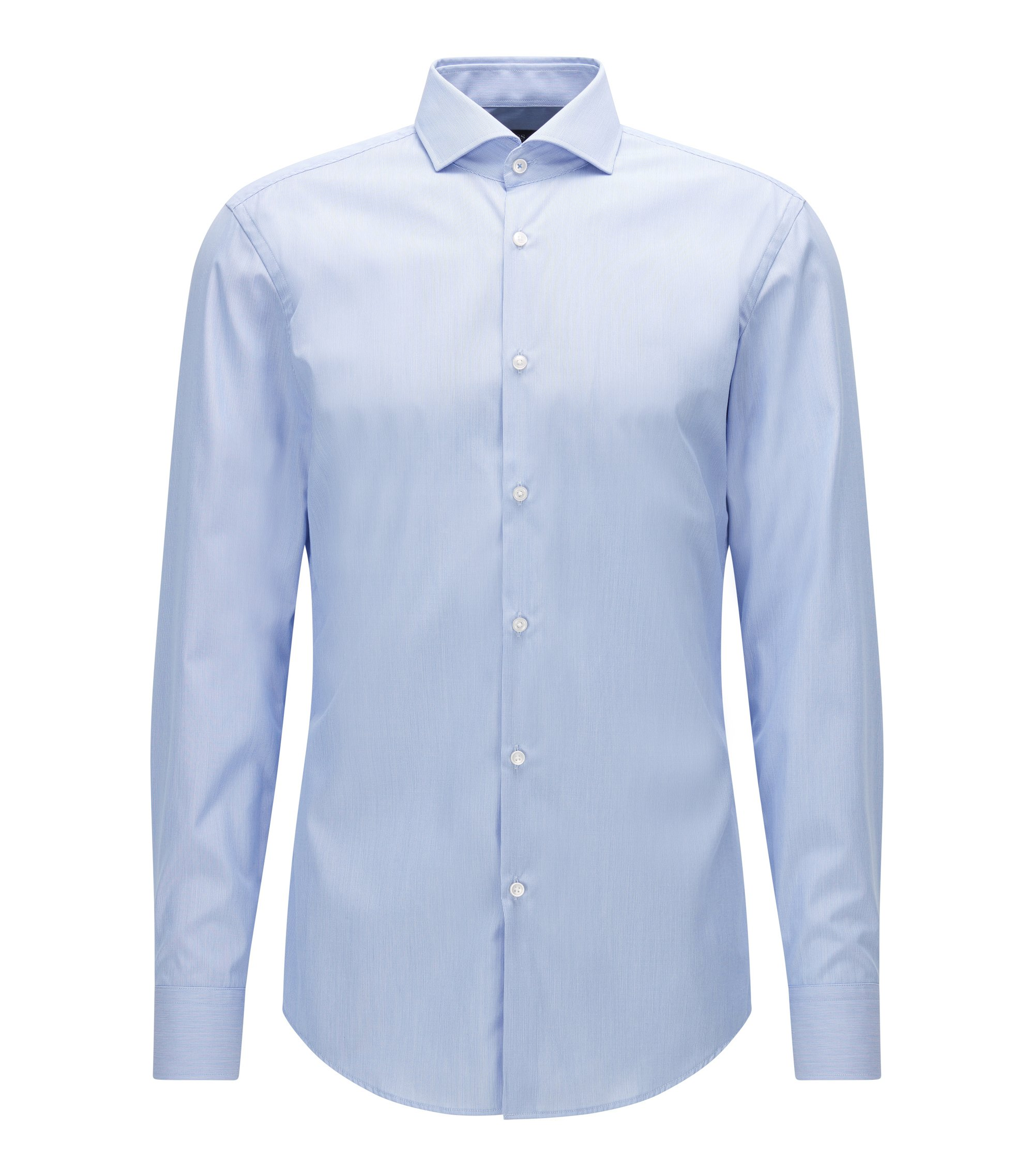 Slim-fit striped shirt in easy-iron cotton, Light Blue