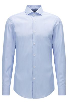 Camicia slim fit a righe in cotone facile da stirare, Celeste