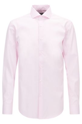 Slim-fit striped shirt in easy-iron cotton, light pink