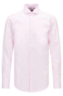 Gestreiftes Slim-Fit Hemd aus bügelleichter Baumwolle, Hellrosa