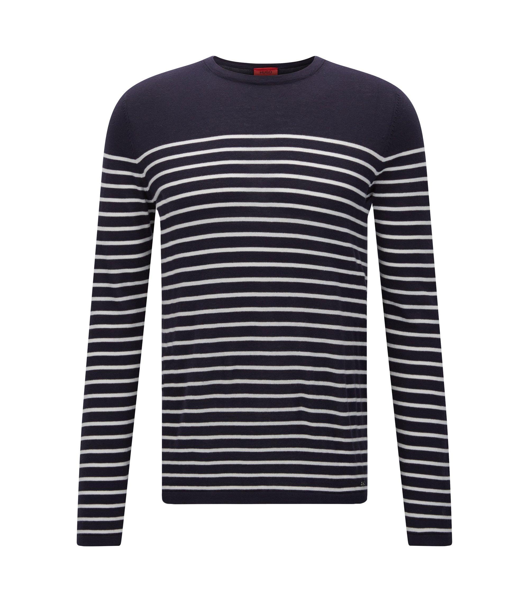 Slim-fit trui met nautische streep , Donkerblauw