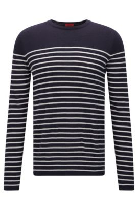 Slim-fit sweater with nautical stripe , Dark Blue