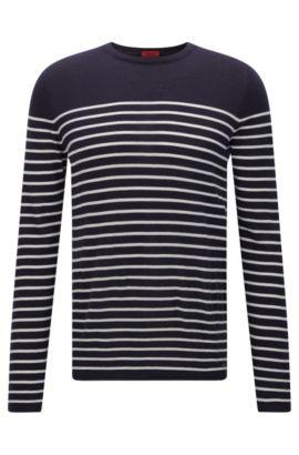 Maglione slim fit con righe in stile nautico , Blu scuro