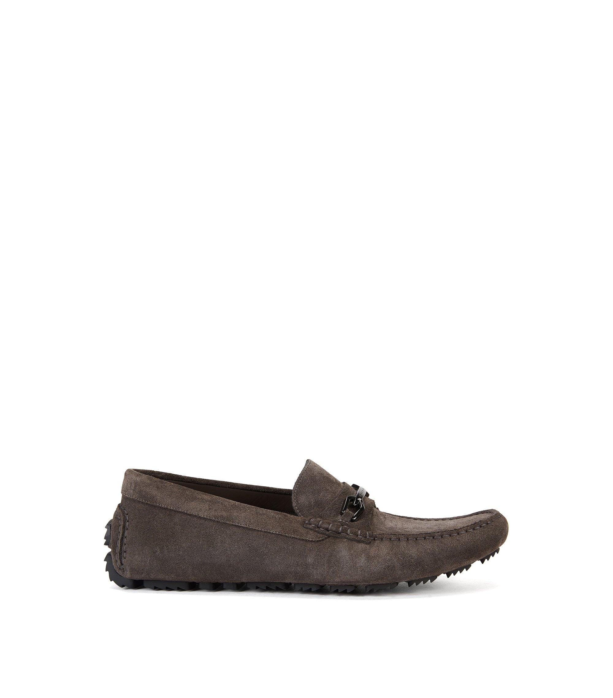 Veloursleder-Schuhe mit Metall-Detail, Dunkelgrau