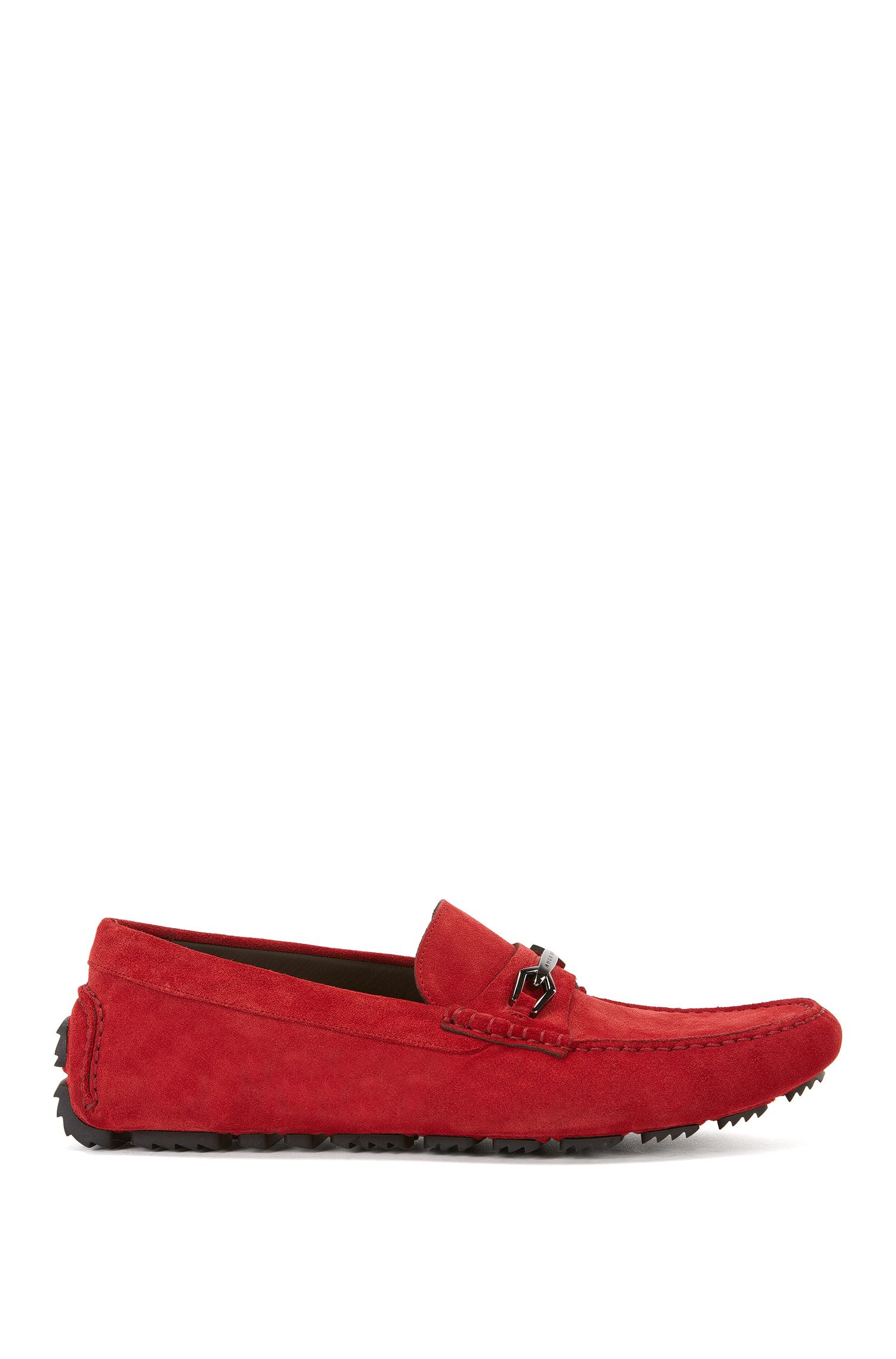 Suede driver shoes with hardware trim