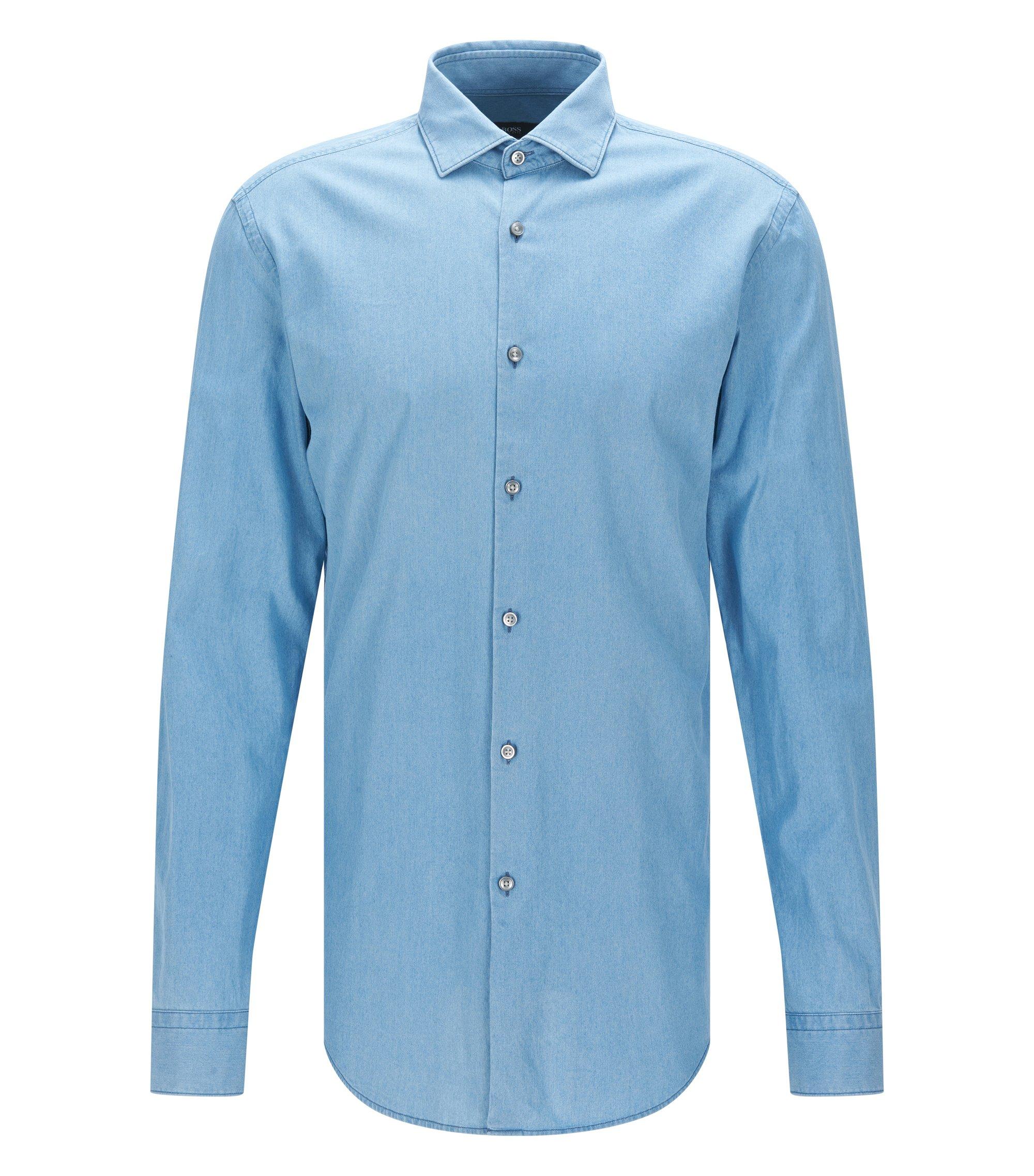 Regular-Fit Hemd aus weichem italienischem Denim, Dunkelblau