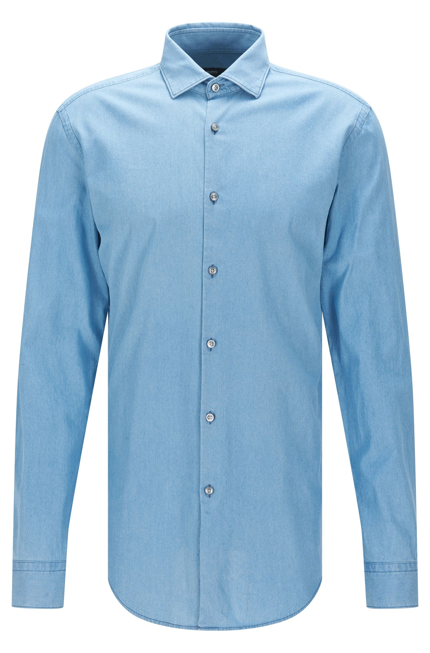 Camisa regular fit en suave tejido vaquero italiano